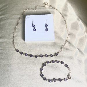 LAST CHANCE 10/13🔸 Lavender Purple Stone Earring Bracelet Necklace Jewelry Set